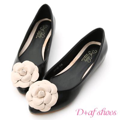 D+AF 法式古典.立體山茶花內增高娃娃鞋*黑