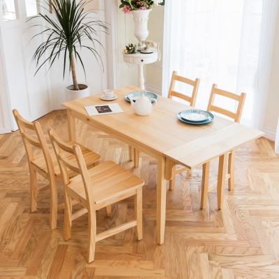 北歐單邊延伸實木餐桌椅組一桌四椅74x142-原木