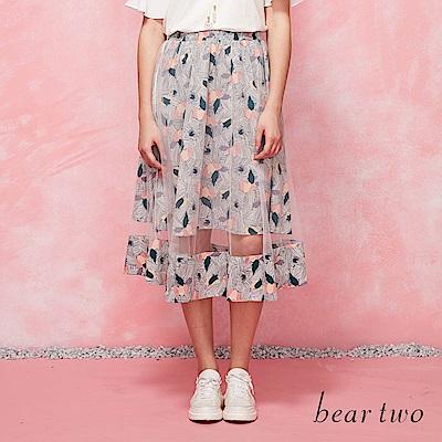 beartwo 拼色花朵手繪線雙層波浪裙(二色)