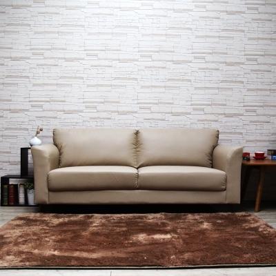 H&D Houston休士頓純樸三人皮沙發-米白色