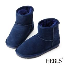 HERLS 全真皮 舒適毛絨短筒雪靴-深藍色