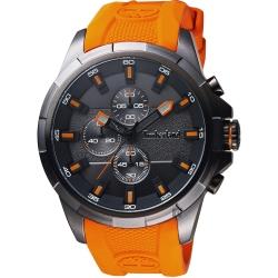 Timberland天柏嵐 競速時代三眼計時手錶-黑x橘/48mm