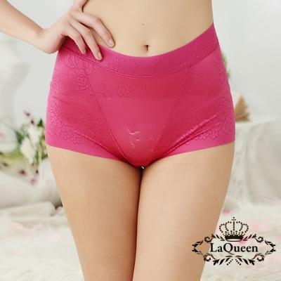 內褲  提花親膚蠶絲無痕高腰內褲-紅 La Queen