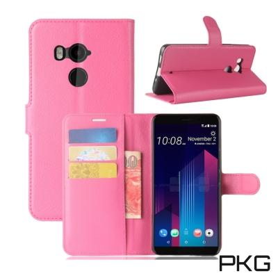 PKG HTC U11-PLUS 側翻式皮套-經典皮套系列-玫粉
