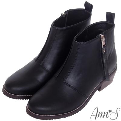 Ann'S率性俐落-質感拼接側拉鍊素面粗跟短靴-黑