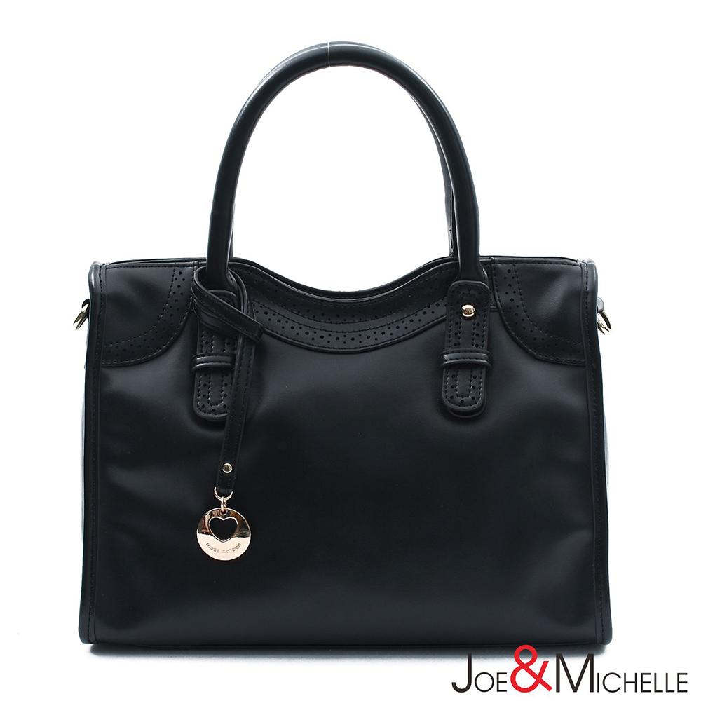 JOE&MICHELLE 真皮花漾甜心機車包  時尚黑