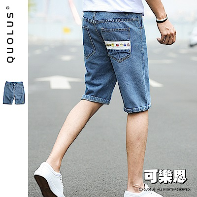 可樂思 逗趣小精靈圖樣 休閒牛仔短褲