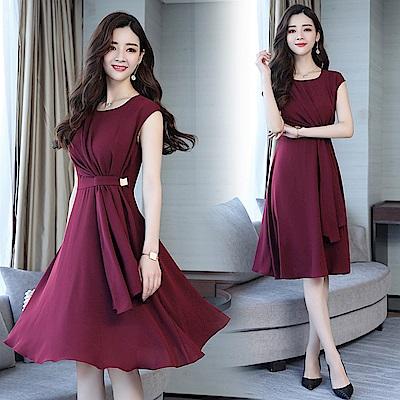 韓系典雅氣質純色高腰裙-S-2XL(共三色)-SZ