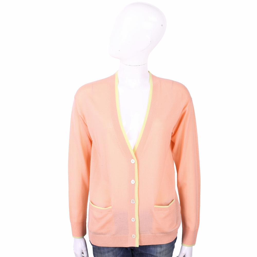 ALLUDE 100%羊毛粉橘色補丁細節針織外套