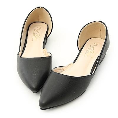 D+AF 粉彩繽紛.素面側挖空尖頭鞋*黑