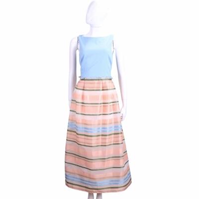 Max Mara-SHINE 水藍拼接彩色條紋無袖洋裝