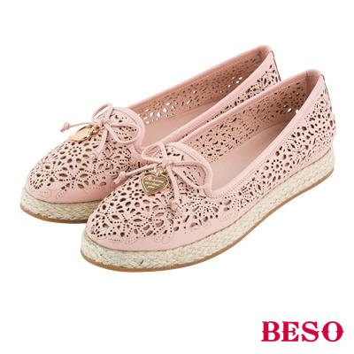 BESO 簍空甜心 蝴蝶結沖孔麻台全真皮休閒鞋~粉紅