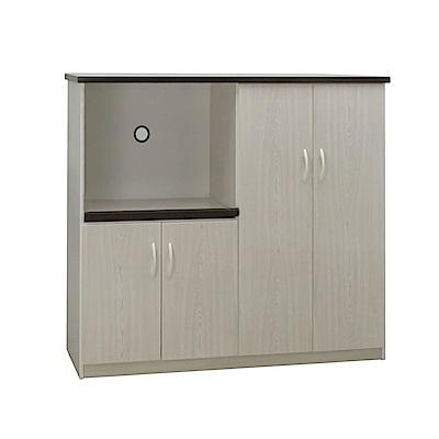 品家居 瑪波4.3尺環保塑鋼四門餐櫃(二色可選)-128.5x43x112cm-免組