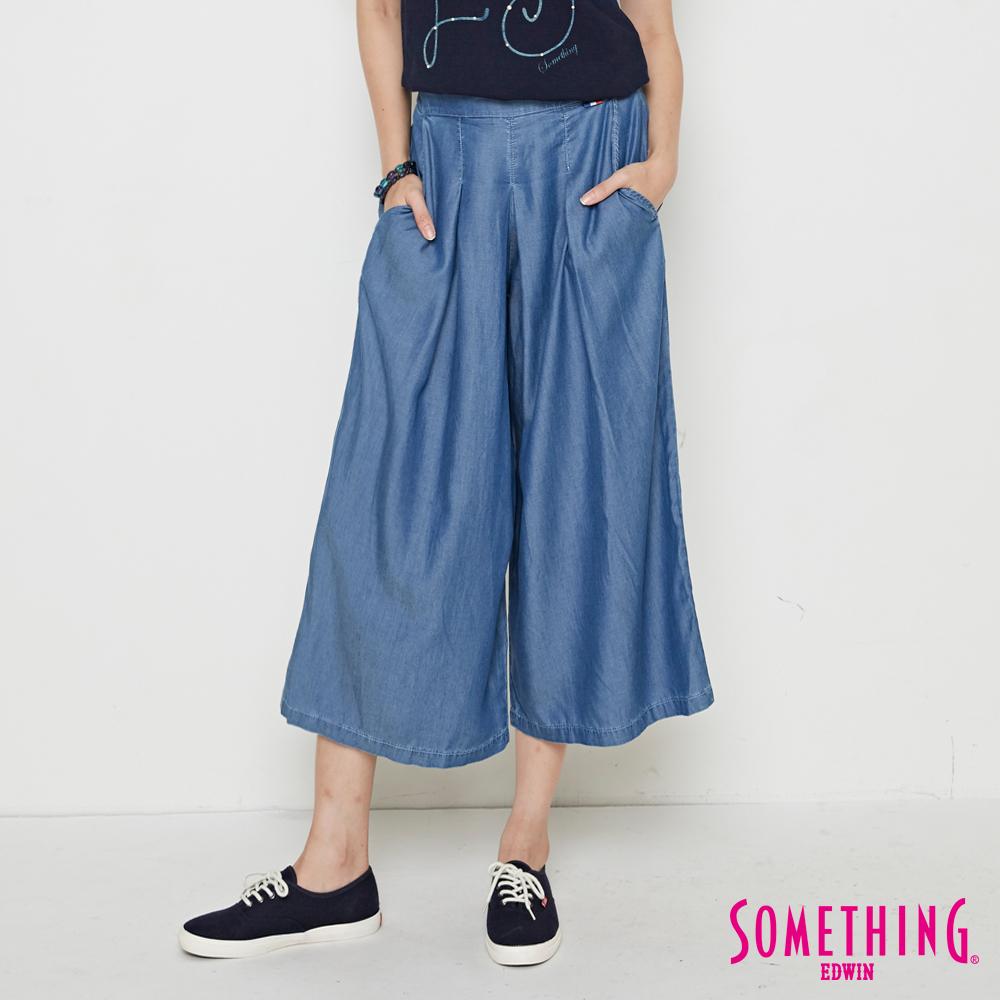 SOMETHING 天絲®打褶柔軟闊腿褲-女-漂淺藍