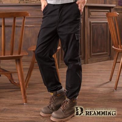 Dreamming 美式布標百搭伸縮休閒工作長褲-黑色