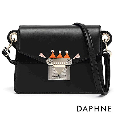 達芙妮DAPHNE-撞色幾何拼接小方包-黑