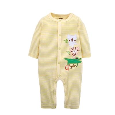 純棉條紋長袖連身衣 黃 k60250