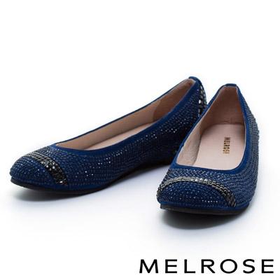 MELROSE-奢華燙鑽羊麂皮平底娃娃鞋-藍