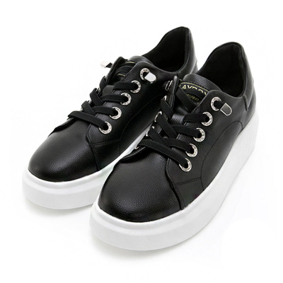 PLAYBOY流行印象 水鑽鞋帶釦真皮休閒鞋-黑