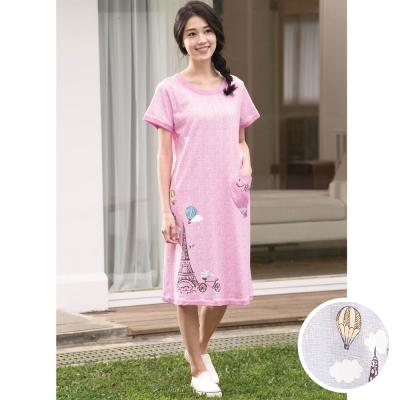華歌爾睡衣 Pretty Amy 印花 M-L 短袖裙裝家居服(甜美灰)