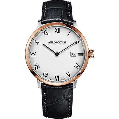 AEROWATCH Heritage系列尊爵時尚石英腕錶-白x玫塊金銀框x黑/40mm