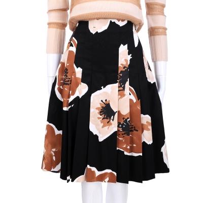Max Mara 黑色印花設計抓褶及膝裙
