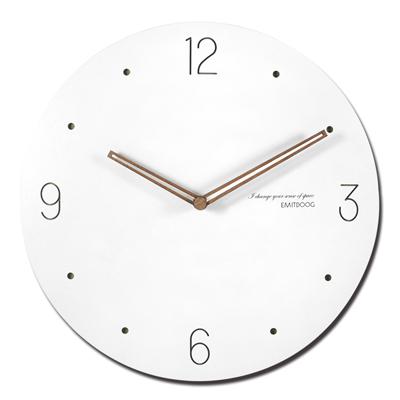 12吋簡約時尚現代居家輕薄簡約 拉伯數字時標餐廳客廳臥室靜音圓掛鐘 - 白色