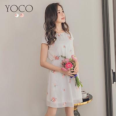 東京著衣-yoco 女神系光澤感刺繡俏麗短袖洋裝-S.M.L(共二色)