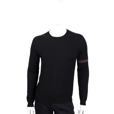GUCCI 黑色織帶設計圓領羊毛針織長袖上衣(100%WOOL)