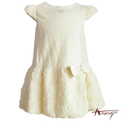 Anny華麗拼接滿滿蝴蝶結蕾絲洋裝*3208米白
