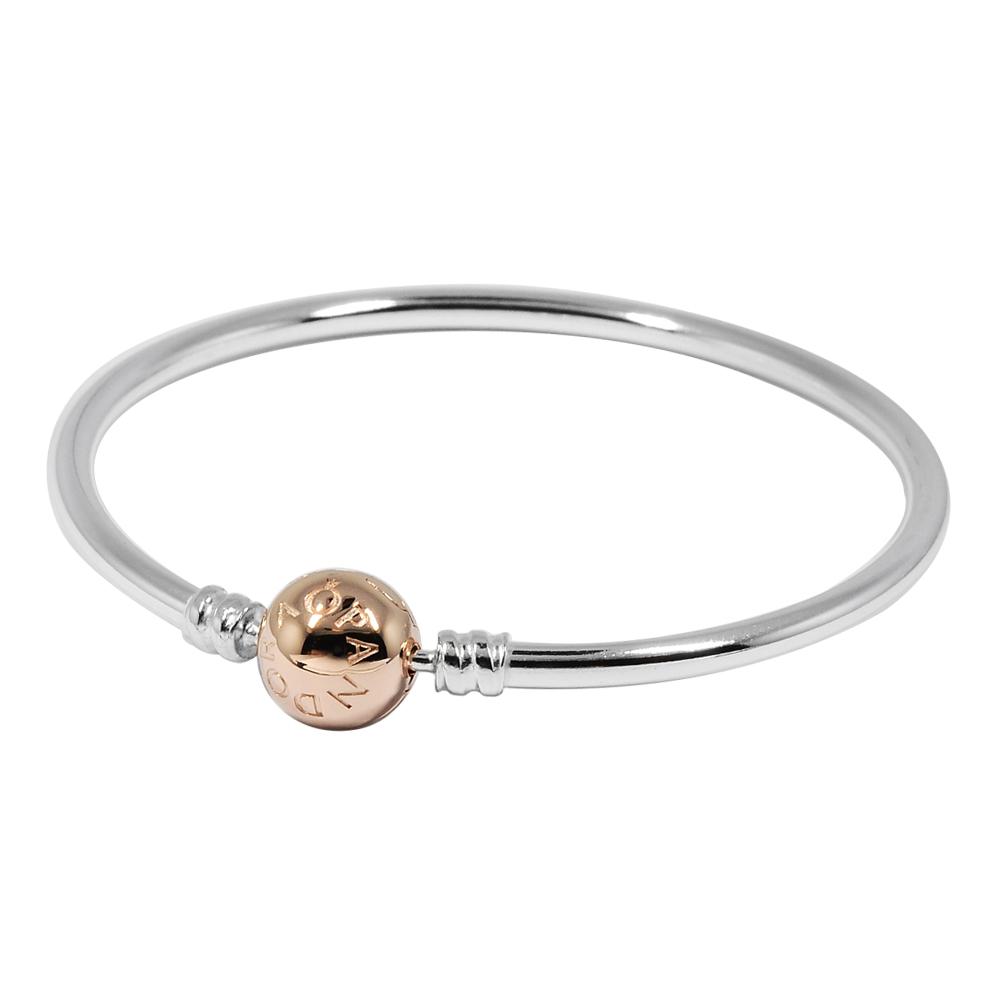 Pandora 潘朵拉 玫瑰金硬環圓珠釦頭 純銀手鍊手環