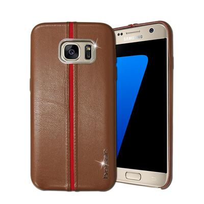 HOCAR Samsung Galaxy S7 edge 爵士皮革保護手機殼(淺...