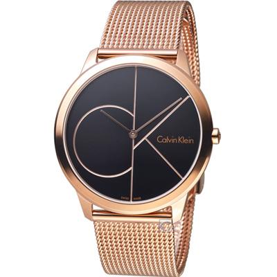 Calvin Klein minimal  大 ck 簡約時尚腕錶-黑x玫瑰金/40mm