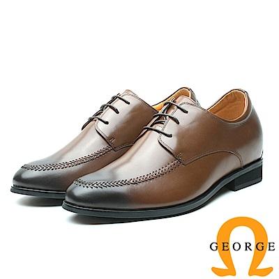 GEORGE 喬治-內增高系列 漸層綁帶皮革紳士鞋 男鞋-咖