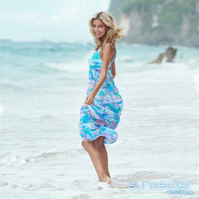 澳洲Sunseeker泳裝波希米亞幾何花朵女神系沙龍長洋裝罩衫