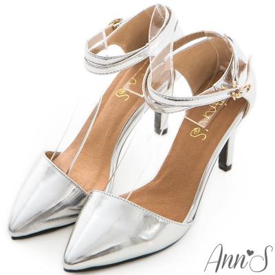 Ann'S性感斜口繞帶繫踝素面尖頭跟鞋-銀