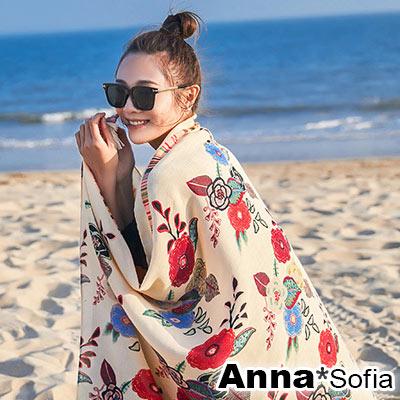 AnnaSofia 繽紛花藤 流蘇墬大尺寸披肩圍巾(黃底系)