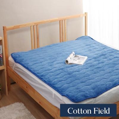 棉花田 暖暖 超細纖維雙人保暖墊-深藍色