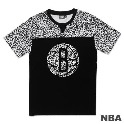 NBA-布魯克林籃網隊豹紋剪接短袖T恤-黑白(男)