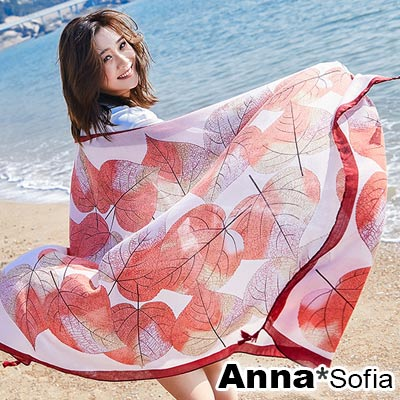 AnnaSofia 漸層虹映葉脈 流蘇墬大尺寸披肩圍巾(紅系)