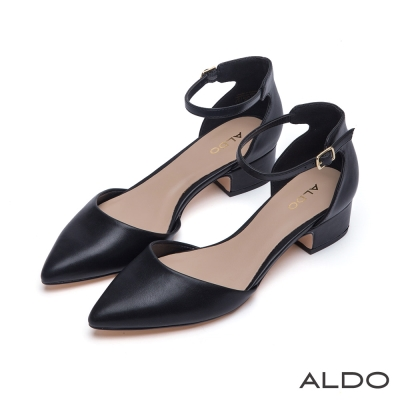 ALDO-復古時尚風金屬釦帶繫踝尖頭粗跟鞋-尊爵黑