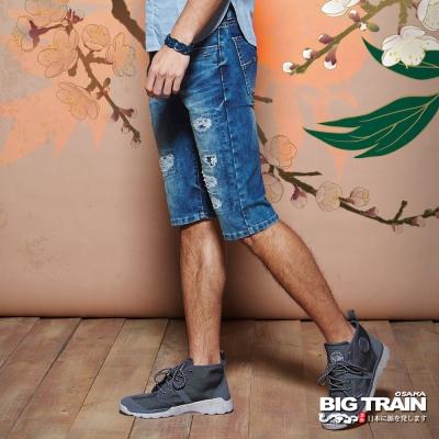 BIG TRAIN 冰酷破壞短褲-男-中藍