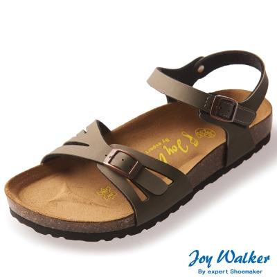 Joy Walker 繽紛色彩一片式平底涼鞋*卡其