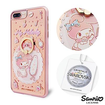 三麗鷗 iPhone8/7/6s Plus 施華彩鑽鏡面指環扣手機殼-美妝美樂蒂