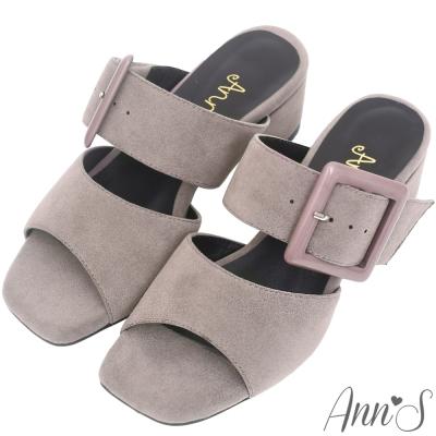 Ann'S韓版時尚-素面大方扣方頭粗跟涼拖鞋-灰