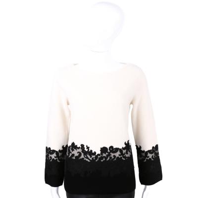 TORY BURCH 米x黑美麗諾羊毛拼接設計長袖上衣