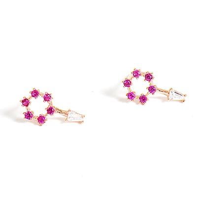微醺禮物 正韓 鍍K金針 桃紅星星棒棒糖 鏤空 垂墜小白方鋯 簡約精緻可愛春天 耳針 耳環