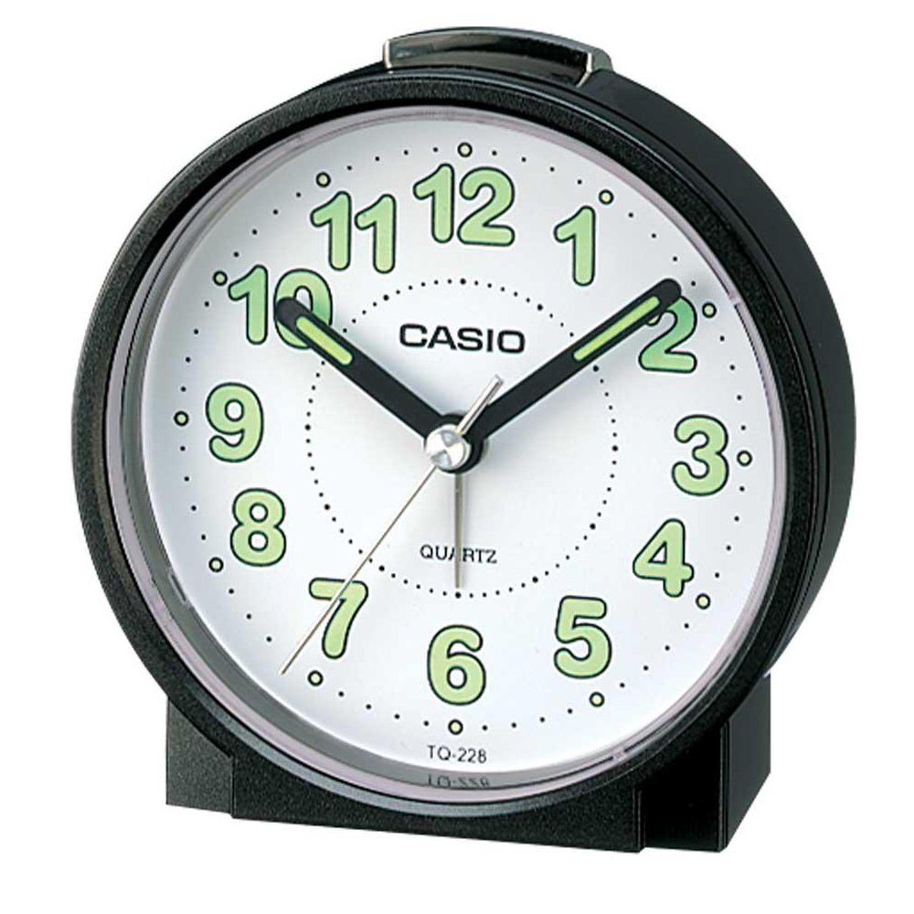CASIO 桌上圓型指針款鬧鐘(TQ-228-1)-黑x白面