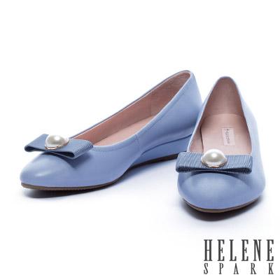 低跟鞋-HELENE-SPARK-珍珠織帶蝴蝶結全真皮羊皮楔型低跟鞋-紫