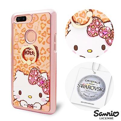 三麗鷗 kitty OPPO R11s 施華彩鑽鏡面指環扣手機殼-豹紋凱蒂